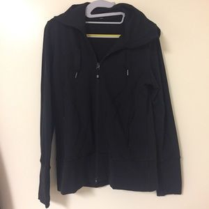Lululemon black zippered jacket with hood size 10